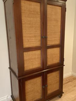 Cherry Wood Brown Antique Wicker Armoire TV Dresser Wardrobe Pull Out Desk Entertainment Cabinet for Sale in Newport Beach,  CA