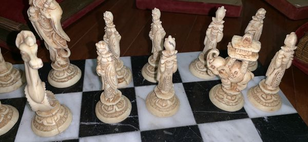 Antique marble chess set