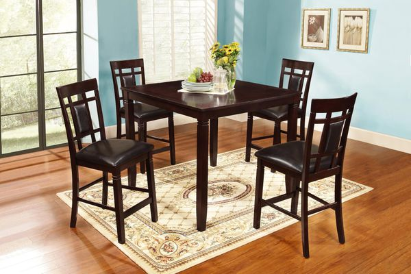 New! 5PC Espresso Wood Dining Set *FREE SAME-DAY DELIVERY*