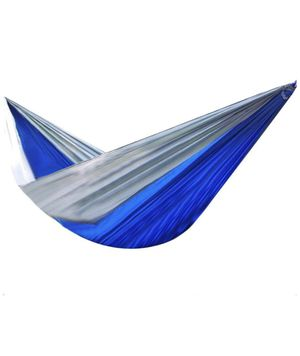 Portable Parachute Cloth Hammock Outdoor Single-Person Double Camping, Blue + Grey for Sale in Bergenfield, NJ