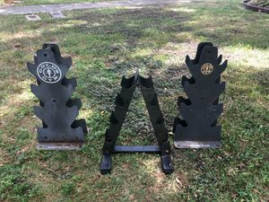 THREE 8 DUMBBELL RACKS (USED/OUTDDOR RACKS. ** $25 EACH** FOR 25 LB. DUMBBELS & LIGHTER for Sale in Deerfield Beach, FL