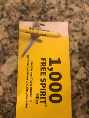 1000 miles Spirit voucher.. Can be used for any destination for Sale in High Point, NC