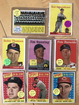 1958 TOPPS BASEBALL CARDS (8) ALL-STARS Included for Sale in Lafayette, CA