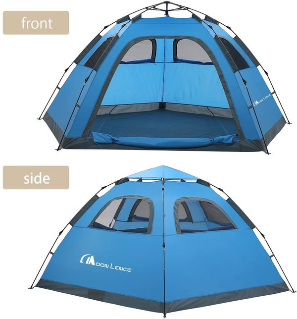 MOON LENCE Instant Pop Up Tent Family Camping Tent 4-5 Person Portable Tent Automatic Tent Waterproof Windproof for Camping Hiking Mountaineering