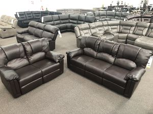 Only $50 Down! New Couch / Love Seat. Espresso Leather. Free Delivery! for Sale in Buena Park, CA