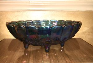Blue Carnival Glass Footed Fruit Bowl for Sale in Kinston, NC