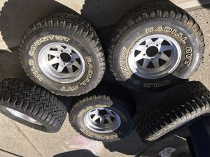 Set of 5 jeep wheels and tires for Sale in Pacific, WA