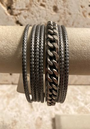 Bangle Bracelets-Set of 7-New w/Tags-Designer-Textured-Grey-All 7 for $5-Listing Hundreds Of Items for Sale in Biscayne Park, FL