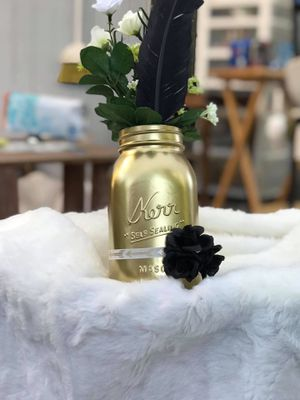 Gold and feather mason jar flower vase for Sale in Hillsboro, OR
