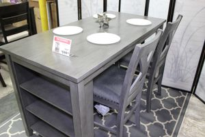 5 PC Counter Height Dining Set with High Chairs, Grey for Sale in Santa Fe Springs, CA