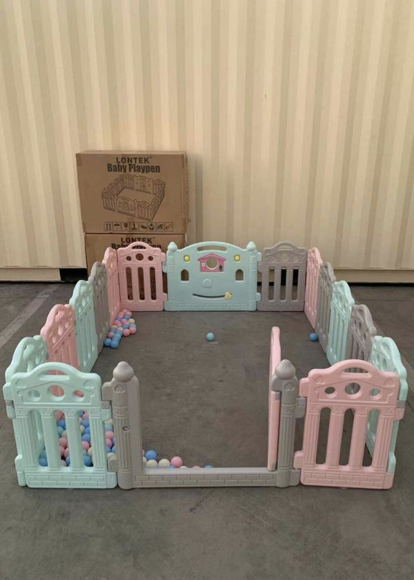 NEW Adjustable 76x61x23 Inches Tall 16 Panel Baby Safety Gate Non Slip Suction Cup Base Indoor Outdoor Playpen Fence with Balls