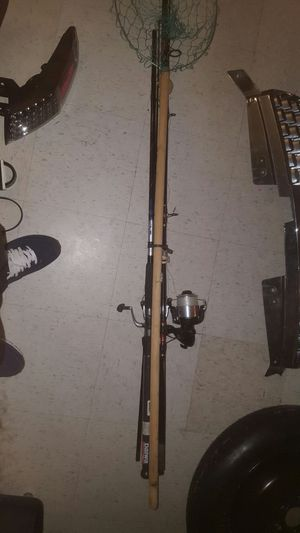 2 fishing rods and fish net for Sale in College Park, MD