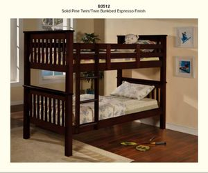 Twin & Twin Bunk bed espresso finish for Sale in Puyallup, WA