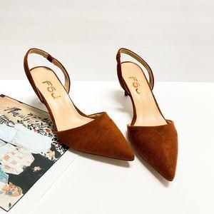 size 7 FSJ Fashion Low Kitten Heels Pumps for Women Pointed Toe Slingback Sandals Dress Shoes for Sale in Las Vegas, NV