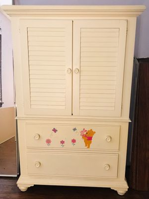 Baby or toddler Wooden Wardrobe Armoire - Could also be used as a tv entertainment stand for Sale in Minooka, IL