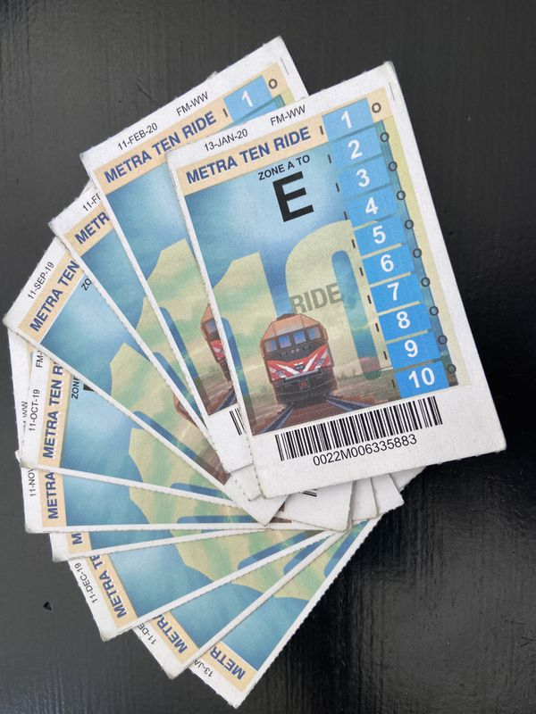 10 Ride Metra Tickets - 10 Total