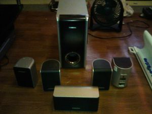 Samsung Subwoofer speaker system with front left and right speakers rear left and right speakers add center speaker for Sale in Seattle, WA
