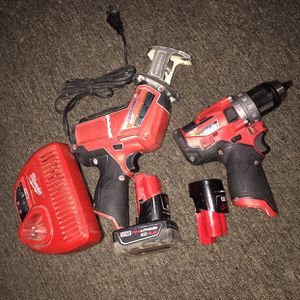 On sale milwakee kit 12 volts hackzall & hammer drill, 2 batterys & charger all for 190 dollars firm price i have it in oakland for Sale in Oakland, CA