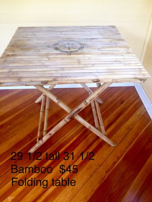 Bamboo drop down table size of a card table for Sale in Holly, MI