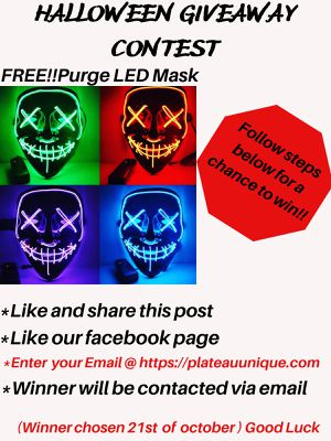 FREE HALLOWEEN GIVEAWAY!!!!!!! Ig #differentplateau#plateauunique Giving away a 100% Free purge led mask for Sale in Cape Coral, FL