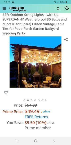 52Ft Outdoor String Lights - for Sale in Las Vegas, NV