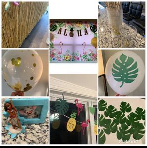 Total Moana Birthday Collection; backdrop 6.5'x5'; table skirt 9'; read desc below for Sale in Smyrna, TN