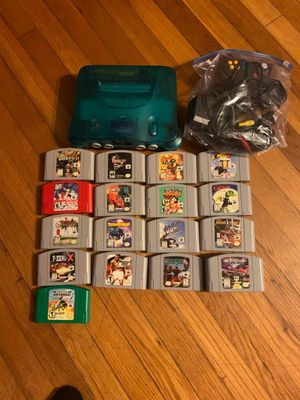 Nintendo 64 Blue Console, 2 controllers, games for Sale in Tampa, FL