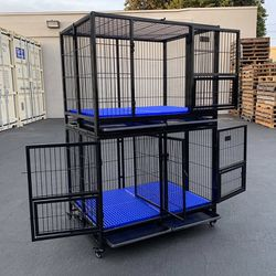 """New $330 (Set of 2) Stackable Dog Cage 41x31x65"""" Heavy Duty Kennel w/ Plastic Tray for Sale in City of Industry,  CA"""