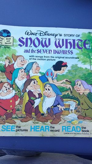 Snow White and the seven dwarfs 33 and a third RPM Walt Disney record vintage for Sale in Columbus, OH