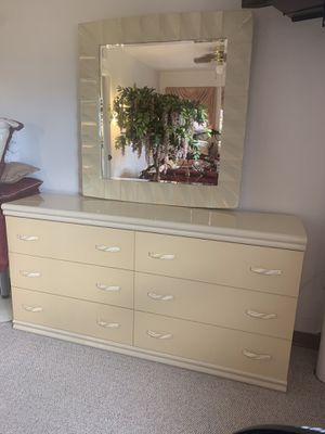 Bedroom dresser with mirror 68 inches wide 76 inches long 17 inches width for Sale in Buffalo, NY