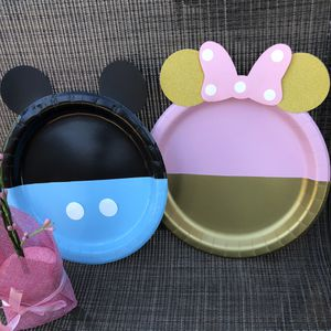 Mickey Mouse gender reveal party decoration! Mickey cake topper! Sets of 24 plates for Sale in Los Angeles, CA