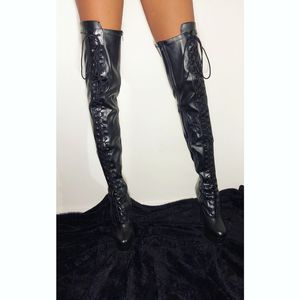 Black Thigh High Faux Leather Pleaser Boots for Sale in Woodlawn, MD