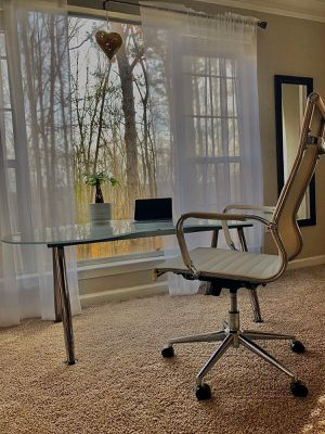 Glass Desk and White Leather Office Chair for Sale in Dunwoody, GA