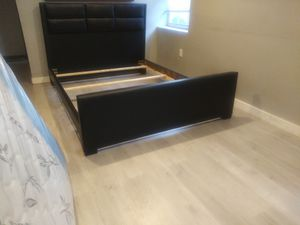 $275 leather queen bed frame brand new free delivery same day for Sale in Miramar, FL