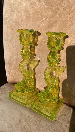 MMA vintage koi fish Vaseline candlesticks for Sale in Carlsbad, CA