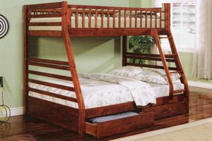 Cherry or espresso twin full bunk bed with 2 drawers ( new ) for Sale in Hayward, CA