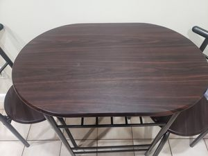 Dining Set Compact 2 Chairs and Table Set/ Breakfast Space Saving for Apartment and Kitchen (Black) for Sale in Coral Springs, FL