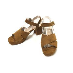 Zara Brown/Tan Suede Block Heel Sandal Size 40 for Sale for sale  McAllen, TX