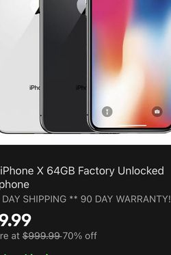 Apple iPhone X 64GB Factory Unlocked Smartphone FREE 2 DAY SHIPPING ** 90 DAY WARRANTY!!!! for Sale in Kenbridge,  VA