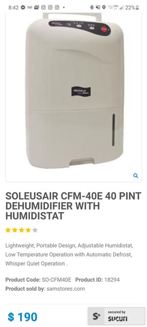 Portable Dehumidifier for Sale in San Jose, CA