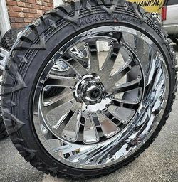 24x12 Chrome HARDCORE Wheels and tires set 35 1250 24 for Sale in Phoenix,  AZ