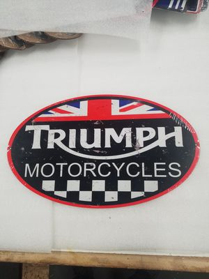 Triumph motorcycle bike logo steel metal sign for Sale in Vancouver, WA