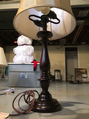 """Dark bronze 26"""" lamp with two bulbs and gold/cream linen shade for Sale in Pittsburgh, PA"""