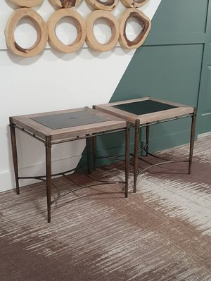 """2 Matching Coffee Tables / Side Tables / Sofa Tables. Bronze Colored Metal Frame, Driftwood and Leather Surface. 22""""D x 24.5""""L x 20""""H. ***LOW PRICE! for Sale in Fort Lauderdale, FL"""
