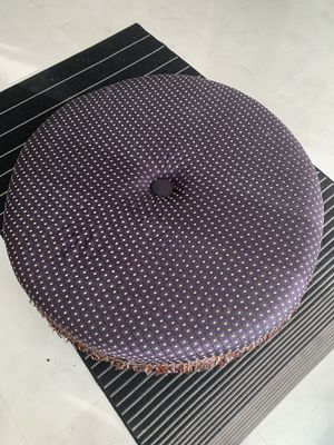 Beautiful, large, comfortable round purple ottoman with gold accents for Sale in Miami, FL