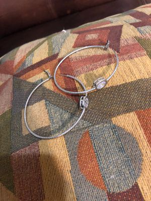 Costume silver hoop earrings large with faux diamonds for Sale in San Antonio, TX