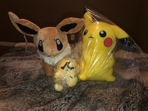 Pokémon eevee, pikachu, and psyduck plush for Sale in San Leandro, CA
