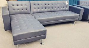 "BRAND NEW GRAY leather Sofa/ Chaise Futon ""TAX REFUND SALE"" for Sale in Houston, TX"