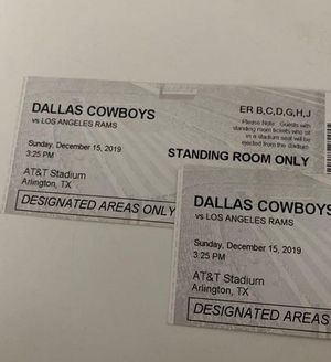 Cowboys vs Rams AT&T Stadium standing tickets for Sale in Altadena, CA