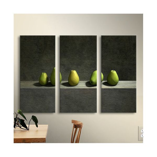 Five Pears 3 Piece Photographic Print on Wrapped Canvas Set